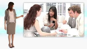 Bizneswoman pozycja obok montażu biznesowy spotkanie zbiory