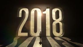 Bizneswoman pozycja przed literówką 2018 na czarnej ścianie ilustracji