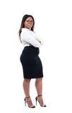 Bizneswoman pozycja z rękami składać zdjęcia stock
