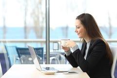 Bizneswoman pracuje na linii w sklep z kawą Obraz Stock