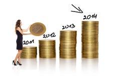 Bizneswoman robi stercie złote monety na białym tle Obraz Royalty Free