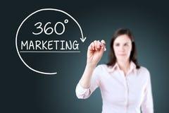 Bizneswoman rysuje 360 stopni Wprowadzać na rynek pojęcie na wirtualnym ekranie niebieska tła Zdjęcie Royalty Free