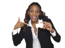 Bizneswoman - szczęśliwa wizytówka Zdjęcia Royalty Free