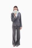 Bizneswoman target174_0_ z banknotami w ona rękę obraz royalty free