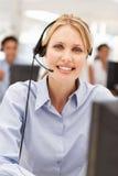 Bizneswoman target268_0_ słuchawki Zdjęcia Royalty Free