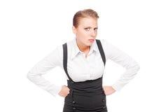 Bizneswoman target350_0_ z nieufność zdjęcie stock