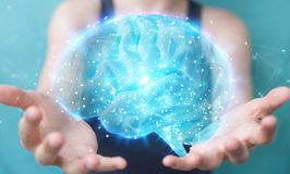 Bizneswoman używa cyfrową 3D projekcję ludzkiego mózg 3D rendering royalty ilustracja