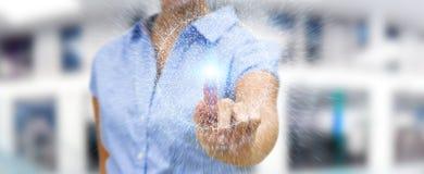 Bizneswoman używa cyfrowej sieci związku sfery 3D renderi Zdjęcie Royalty Free