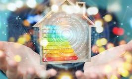 Bizneswoman używa 3D renderingu oceny energetyczną mapę w drewnianym ilustracji