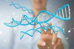 Bizneswoman używa nowożytnego DNA struktury 3D rendering Fotografia Royalty Free