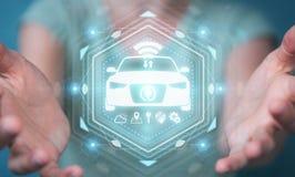 Bizneswoman używa nowożytnego mądrze samochodowego interfejsu 3D rendering Zdjęcia Royalty Free