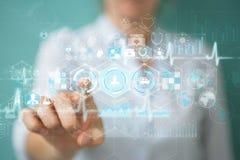 Bizneswoman używa cyfrowego medycznego interfejsu 3D rendering Obrazy Royalty Free
