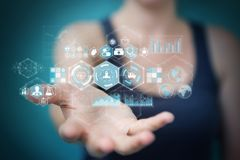 Bizneswoman używa cyfrowego medycznego interfejsu 3D rendering Obraz Stock
