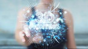 Bizneswoman używa 3D drukuje cyfrowego holograma 3D rendering Obraz Royalty Free