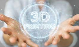 Bizneswoman używa 3D drukuje cyfrowego holograma 3D rendering Ilustracji