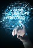 Bizneswoman używa 3D drukuje cyfrowego holograma 3D rendering Ilustracja Wektor