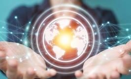 Bizneswoman używa planety sieci sfery 3D ziemskiego rendering Obrazy Stock