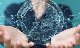 Bizneswoman używa planety sieci sfery 3D ziemskiego rendering Obraz Royalty Free