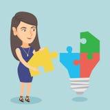 Bizneswoman uzupełnia lightbulb robić łamigłówka ilustracja wektor