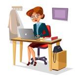 Bizneswoman w biurowej ilustraci kreskówki dziewczyny kierownika ufny działanie na nowożytnym laptopie przy stołowym biurkiem ilustracji