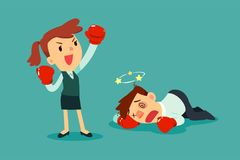 Bizneswoman w bokserskich rękawiczkach wygrywał walkę przeciw biznesmenowi Zdjęcia Royalty Free