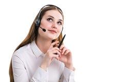 Bizneswoman w hełmofonach Obraz Royalty Free