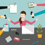Bizneswoman w lotosowej medytaci pozyci w pracy biurze z dzieckiem w przewoźniku, temblak ilustracja wektor