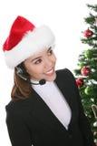 Bizneswoman w Santa kapeluszu Obrazy Royalty Free