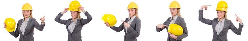 Bizneswoman w szarość nadaje się i zbawczy hełm odizolowywający na bielu Zdjęcia Stock