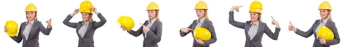 Bizneswoman w szarość nadaje się i zbawczy hełm odizolowywający na bielu Obraz Stock