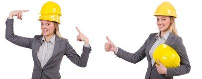 Bizneswoman w szarość nadaje się i zbawczy hełm odizolowywający na bielu Zdjęcie Stock