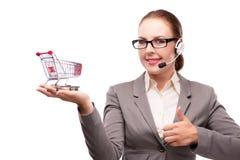 Bizneswoman w telesales pojęciu odizolowywającym na bielu Fotografia Royalty Free