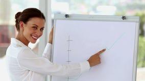 Bizneswoman wskazuje krzywa na whiteboard zbiory