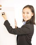 Bizneswoman wskazuje przy białym pustym flipchart obrazy stock