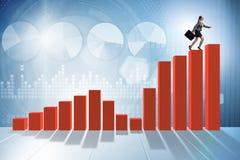 Bizneswoman wspina się prętową mapę w problemu ekonomicznego pojęciu Zdjęcie Stock