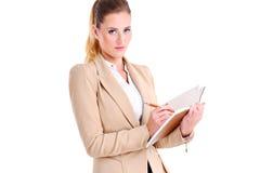Bizneswoman z agendą Zdjęcia Stock