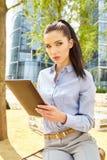 Bizneswoman z Bluetooth obraz stock