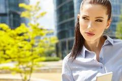 Bizneswoman z Bluetooth obrazy royalty free