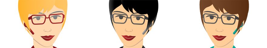 Bizneswoman z bluetooth handsfree przyrządem royalty ilustracja