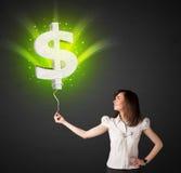 Bizneswoman z dolarowego znaka balonem Fotografia Stock