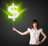 Bizneswoman z dolarowego znaka balonem Zdjęcia Stock