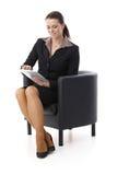 Bizneswoman z ekran sensorowy komputerem Fotografia Stock