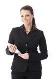 Bizneswoman z ekran sensorowy komputerem Zdjęcie Royalty Free