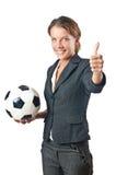 Bizneswoman z futbolem Zdjęcia Royalty Free