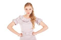 Bizneswoman z gniewnym wyrażeniem na białym tle fotografia stock