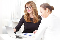 Bizneswoman z jej klientem przy bankiem Fotografia Royalty Free