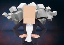 Bizneswoman z jej twarzy pokrywą z karton pozycją przeciw cyfrowemu tłu Obraz Royalty Free