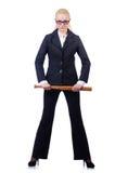 Bizneswoman z kijem bejsbolowym Obraz Stock