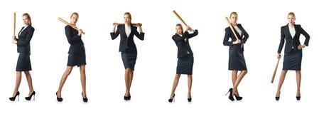 Bizneswoman z kijem bejsbolowym na bielu Obrazy Royalty Free