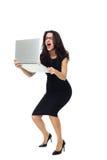 Bizneswoman z laptopem Zdjęcia Royalty Free